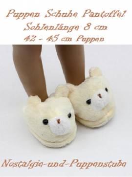 Puppen Schuhe Tierpantoffeln Puschen Hausschuhe Plüsch Bär 8 cm lang 8844 - Bild vergrößern