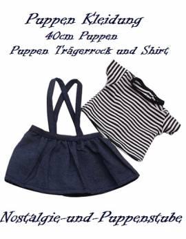 Puppen Kleidung Jeans Rock Trägerrock Minirock Shirt für 40 cm Puppen 9783 - Bild vergrößern