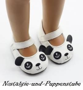 Puppen Schuhe Slipper Ballerinas Tiermotiv Panda 7,0 cm lang 9856 - Bild vergrößern