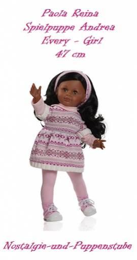 Dunkle Spiel Puppe Andrea Every Girl schwarze Haare ca. 47 cm Paola Reina 6201 - Bild vergrößern