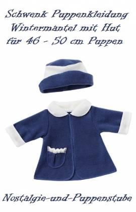 Puppenkleidung Puppen Wintermantel Mantel Mütze blau  für 46 - 50 cm Puppen Schwenk 56250 - Bild vergrößern