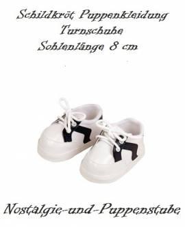 Puppen Schuhe Freizeitschuhe Turnschuhe Sportschuhe weiß - blau 8 cm Sohlenlänge Schildkröt 40181  - Bild vergrößern