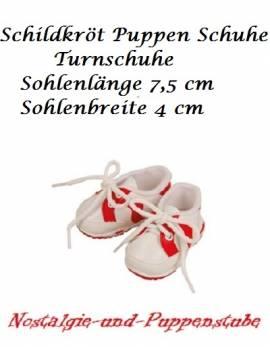 Puppen Schuhe Freizeitschuhe Turnschuhe Sportschuhe weiß - rot 7,5 cm Sohlenlänge Schildkröt 45181  - Bild vergrößern