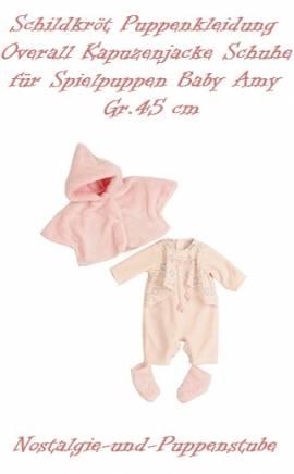 Puppen Kleidung Overall Flausch Jacke Schuhe für 45 cm Spielpuppen Baby Amy Schildkröt, 45723 - Bild vergrößern