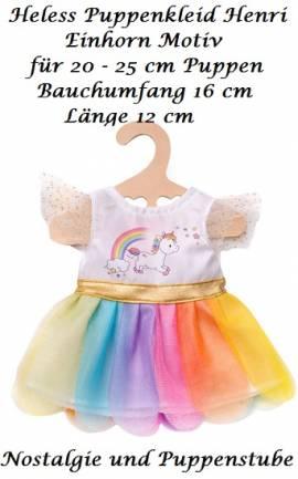 Puppen Kleidung Einhorn Kleid Henry für Puppen von 20 cm bis 25 cm Heless 9850 - Bild vergrößern