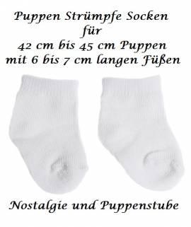 Puppen Kleidung Strümpfe Socken Söckchen weiß für 42 bis 45 cm Puppen, Nr. 069 - Bild vergrößern