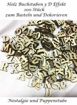 Kreativspielzeug Holz Buchstaben Großbuchstaben 3D Effekt 100 Stück je 1,5 cm hoch, Nr. 114 - Bild vergrößern