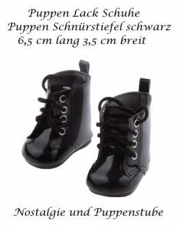 Puppen Lack Schuhe Stiefel Schnürstiefel schwarz 6,5 cm lang 1409 - Bild vergrößern