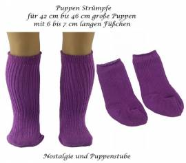 Puppen Kleidung Strümpfe Socken Kniestrümpfe purple für 42 bis 46 cm Puppen, Nr. 160 - Bild vergrößern