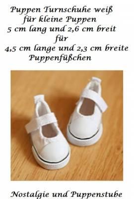 Puppen Schuhe Turnschuhe Sneakers Canvas Leinenschuhe weiß 5 cm lang, 162w - Bild vergrößern