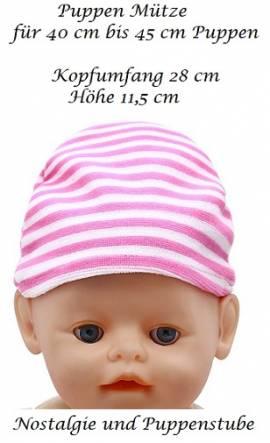 Puppen Kleidung Mütze rosa weiß gestreift für 40 bis 45 cm Puppen, Nr. 170a - Bild vergrößern