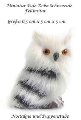 Miniatur Eule Schneeeule Fellimitat Deko Artikel 6 x 5 cm, 170b  - Bild vergrößern