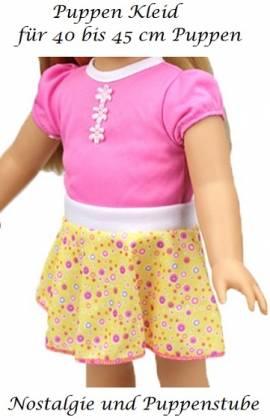 Puppen Kleidung Kleid Sommerkleid rosa gelb für 40 cm Puppen, Nr. 209 - Bild vergrößern