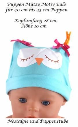Puppen Kleidung Mütze Motiv Eule für 40 bis 45 cm Puppen, Nr. 224 - Bild vergrößern