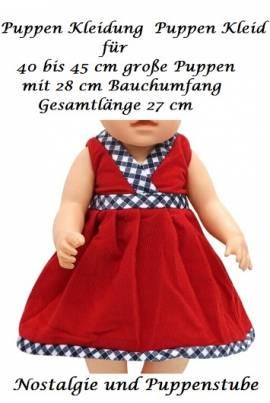 Puppen Kleidung Kleid Sommerkleid rot für 40 bis 45 cm Puppen, Nr. 229d - Bild vergrößern