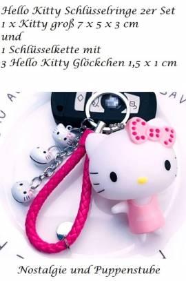 Hello Kitty rosa Schlüsselanhänger 2er Set mit Glöckchen, Nr. 254a - Bild vergrößern