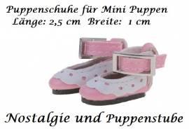 Puppen Schuhe Slipper Ballerinas rosa 2,5 cm lang, Nr. 257  - Bild vergrößern
