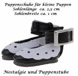 Puppen Schuhe Slipper Ballerinas schwarz 2,5 cm lang, Nr. 257b - Bild vergrößern