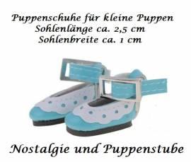 Puppen Schuhe Slipper Ballerinas blau 2,5 cm lang, Nr. 257e  - Bild vergrößern