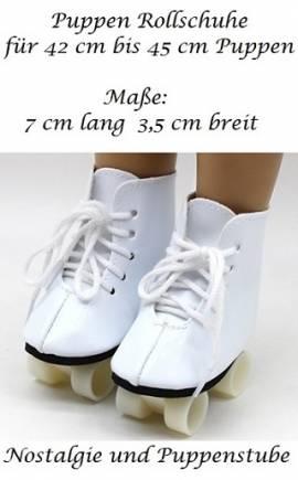 Puppen Zubehör Schuhe Rollschuhe weiß Sportschuhe 7 cm lang,  Nr. 266 - Bild vergrößern