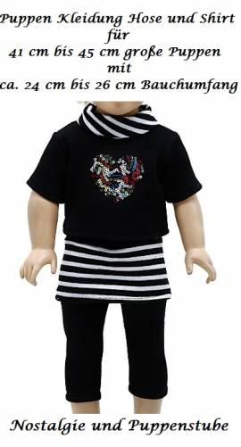 Puppen Kleidung Hose schwarz und Shirt mit Glitzerherz für 41 bis 45 cm Puppen, Nr. 288 - Bild vergrößern