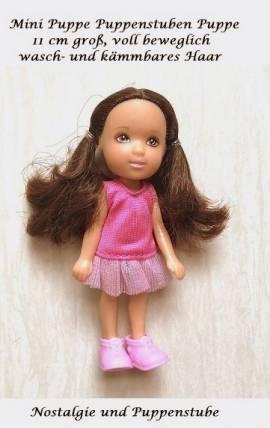 Mini Puppe kleine Puppe Puppenstuben Puppe 11 cm voll beweglich pink Kleid, Nr. 320  - Bild vergrößern