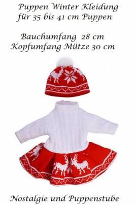 Puppen Kleidung Kleid Strickkleid Winterkleid rot-weiß und Mütze  für 40 cm Puppen, Nr. 360 - Bild vergrößern
