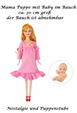 Mama Puppe 29 cm blondes Haar schwanger mit Baby im Bauch, Nr. 445 - Bild vergrößern