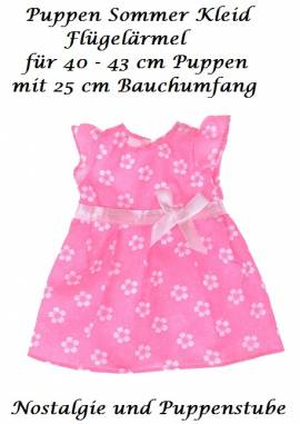 Puppen Kleidung pink Sommerkleid Flügelkleid für 40 cm Puppen 992  - Bild vergrößern