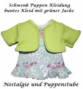 Schwenk Puppen Kleidung Kleid mit grünem Bolero für 28 - 30 cm Puppen, Nr. 10128  - Bild vergrößern