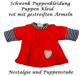 Schwenk Puppen Kleidung rotes Kleid mit Herzchen für 24 - 26 cm Puppen, Nr. 10124b - Bild vergrößern