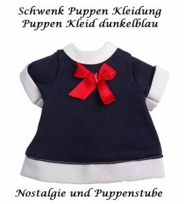 Schwenk Puppen Kleidung Puppen Kleid dunkel blau für 28 - 30 cm Puppen, Nr. 10128c - Bild vergrößern