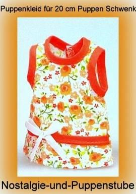 Puppen Kleidung Kleid Sommerkleid orange für 20 - 22 cm Puppen 109r - Bild vergrößern