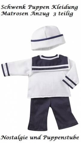 Puppenkleidung Puppen Seemannsanzug Matrosenanzug für 36 - 41 cm Puppen Schwenk, Nr. 66138 - Bild vergrößern