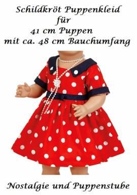 Puppen Kleid rot mit weißen Polka Dots für 41 cm Puppen Schildkröt, Nr. 41834 - Bild vergrößern