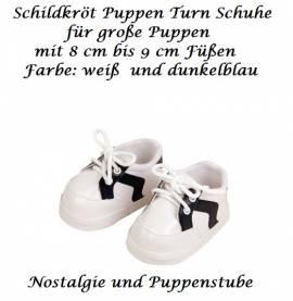 Schildkröt Puppenschuhe Turnschuhe weiß blau für Puppen mit ca 8 cm Füßen, Nr.64181 - Bild vergrößern