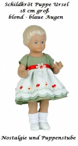 Schildkröt Puppe Ursel 18 cm blond blaue Augen grünes Kleid, 7718899 - Bild vergrößern