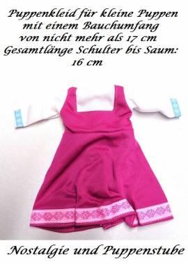 Puppen Kleid fraise weiß für kleine Puppen 28 cm - 30 cm, Nr. 189  - Bild vergrößern