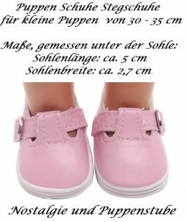Puppen Schuhe Stegschuhe rosa für kleine Puppen mit 4,5 cm Füßchen, Nr. 256 - Bild vergrößern