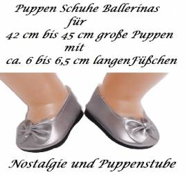 Puppen Schuhe silberfarben Slipper Ballerinas 6,5 cm lang, Nr. 279 - Bild vergrößern