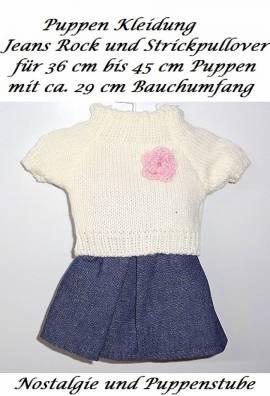 Puppen Kleidung Jeans Rock und Pullover für 36 bis 45 cm Puppen, Nr. 300 - Bild vergrößern