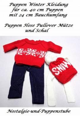 Puppen Kleidung 4er Set rot Winter Pullover Hose Mütze Schal für ca. 40 cm Puppen, Nr. 571 - Bild vergrößern