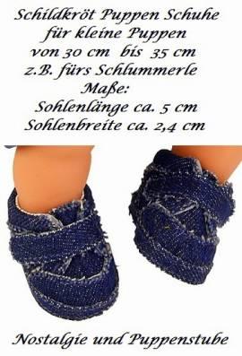 Puppen Schuhe Jeansschuhe Klettverschluß 5 cm Länge Schildkröt, Nr. 32187 - Bild vergrößern
