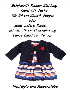 Schildkröt Puppen Kleidung Kleid mit Jacke dunkelblau für 34 cm Puppen, Nr. 34747 - Bild vergrößern