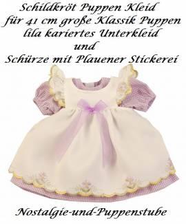 Puppen Kleid fliederfarben mit Schürze für 41 cm Puppen Schildkröt, Nr. 41937 - Bild vergrößern