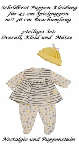 Puppen Kleidung 3 teiliges Set weiss gelb blau für 45 cm Spielpuppen Baby Amy Schildkröt, Nr. 45978 - Bild vergrößern