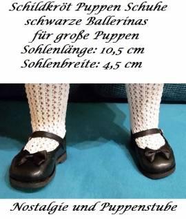 Schildkröt Puppenschuhe schwarze Ballerinas für große Puppen, Nr. 525 - Bild vergrößern