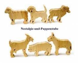 SUPER - SONDERANGEBOT - Holz Spielzeug, 6er-Set Bauernhof Tiere, Naturholz - Bild vergrößern