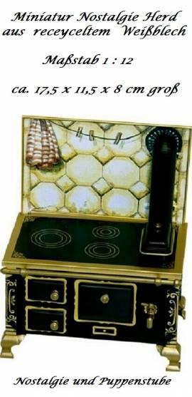 Schopper 11891 Miniaturherd Oldtimer Nostalgie Herd aus Blech Maßstab 1:12 - Bild vergrößern