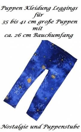 Puppen Leggings Leggins nachtblau mit dezentem Muster für 40 cm Puppen, Nr. 142 - Bild vergrößern
